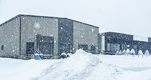 Small business covered in winter snow